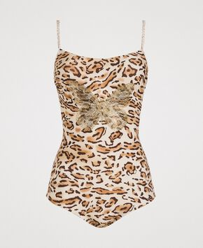 2ad565156f Leopard print one-piece underwired swimsuit ...