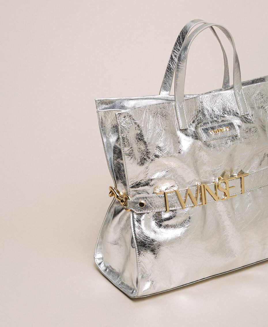 Leather shopper with logo Python Woman 201TA7090-01