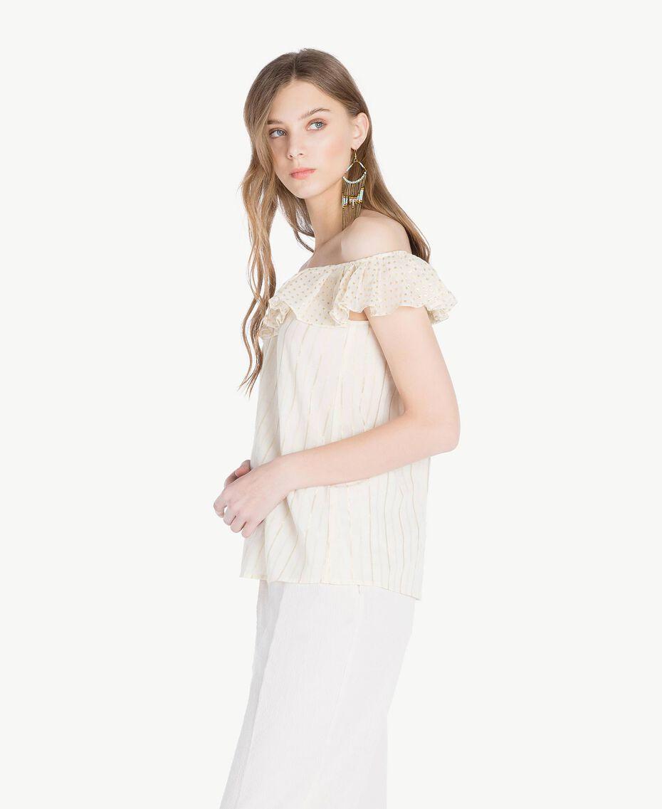 Jacquard blouse Two-tone Mid Melange Grey / Light Gold Woman TS8263-02