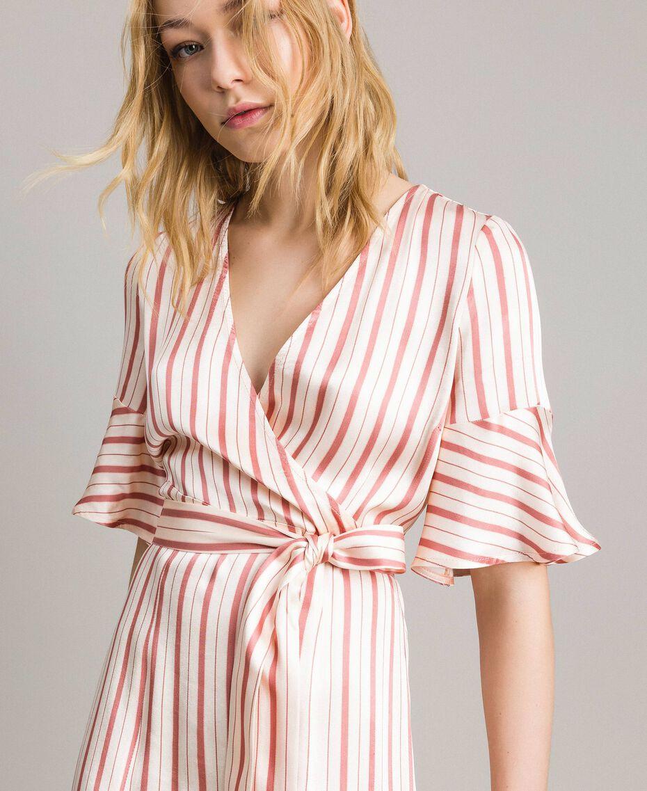 Striped satin wrap dress Pearl Pink Striping Woman 191TP2459-01