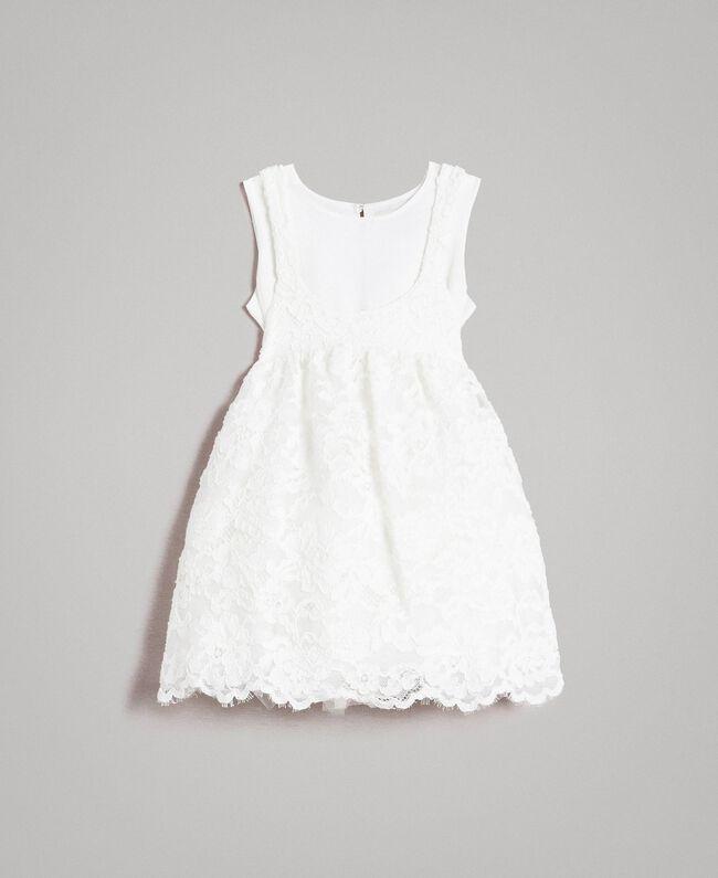 Crêpe de Chine and lace dress Off White Child 191GB2Q91-01
