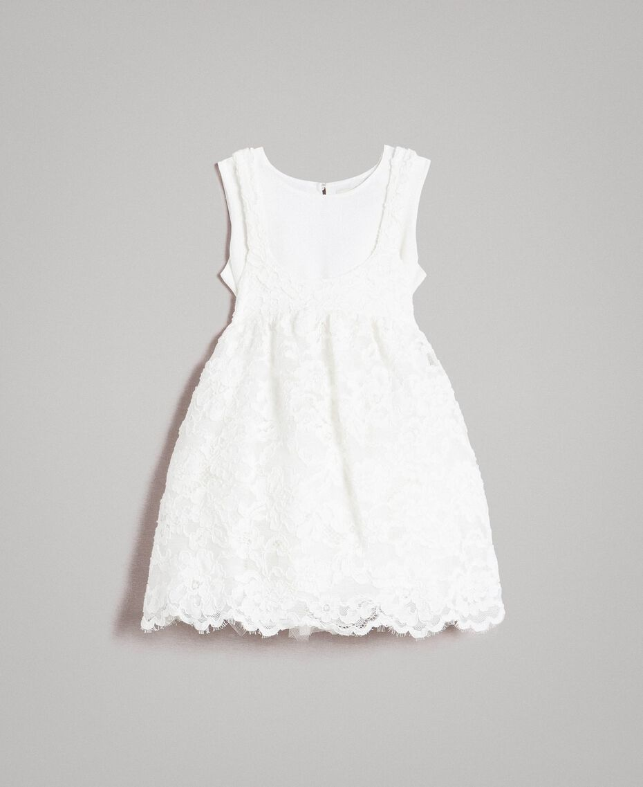 Vestido de encaje y crepé de China Hueso Niño 191GB2Q91-01