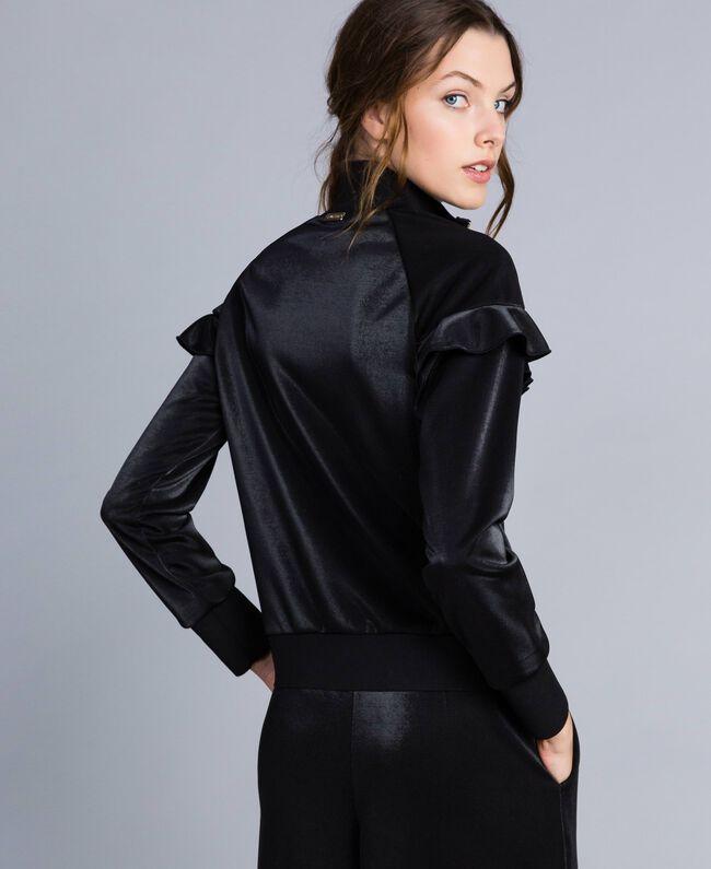 Sweatshirt aus technischem Stoff mit Rüschen Schwarz Frau IA85BB-04