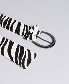Wide faux leather animal print belt Mother-of-pearl / Black Zebra Print Woman VA8P5J-03