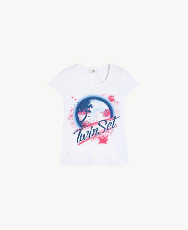 T-Shirt mit Strass Weiß Frau BS8CAA-01