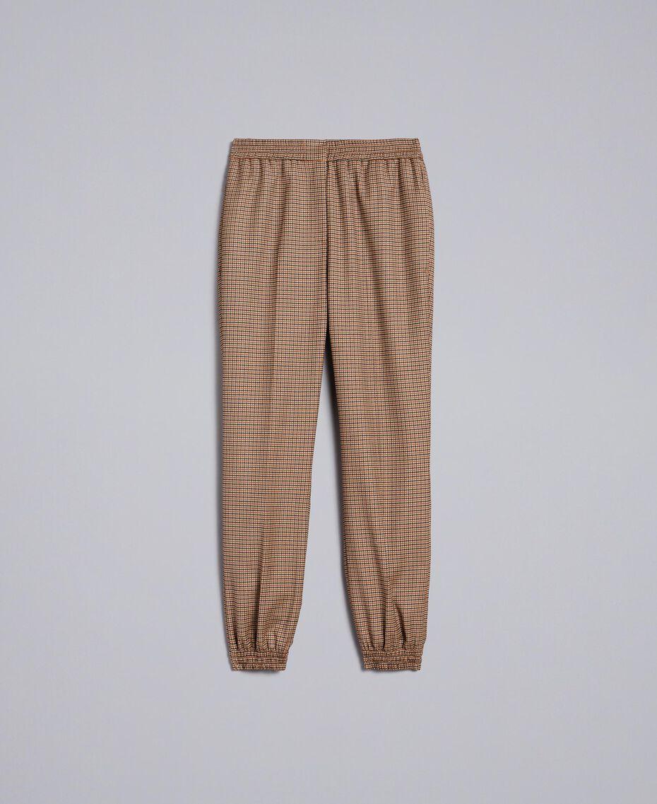 Pantalon de jogging en laine mélangée Jacquard Petits Carreaux Orange Brûlée Femme TA821Q-0S