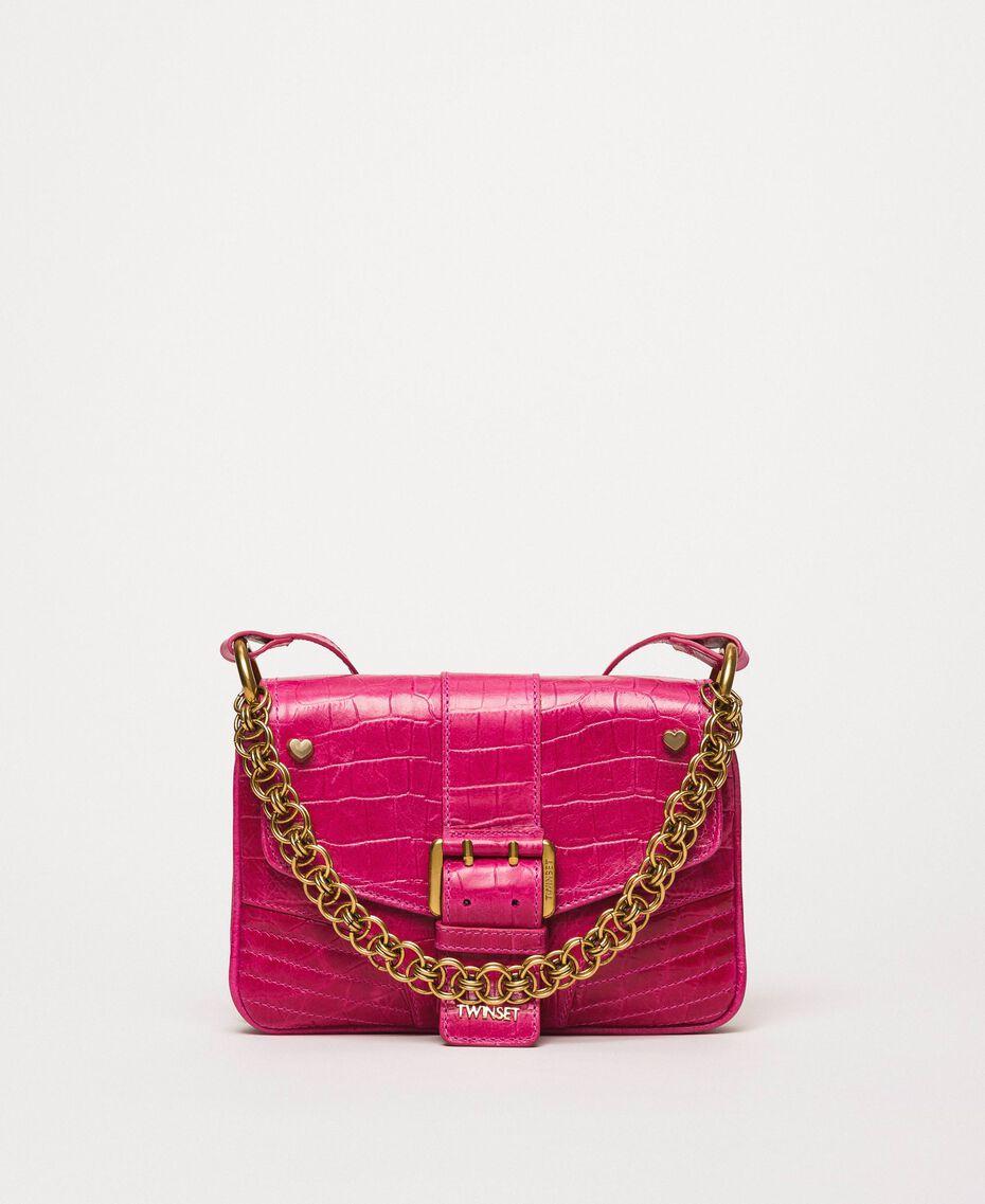 "Small Rebel shoulder bag with croc print ""Black Cherry"" Red Croc Print Woman 201TA7111-02"