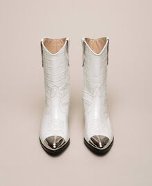 "Leather Texas boots with crocodile print ""Snow"" White Crocodile Print Woman 201TCP040-05"