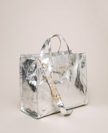 Leather shopper with logo White Snow Woman 201TA7090-04