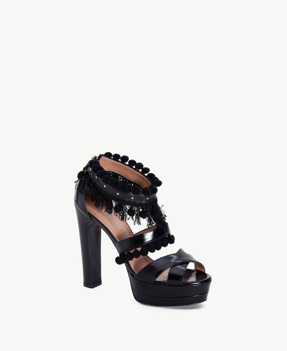 TWINSET Sandales pompons Noir Femelle CA7PHG-02