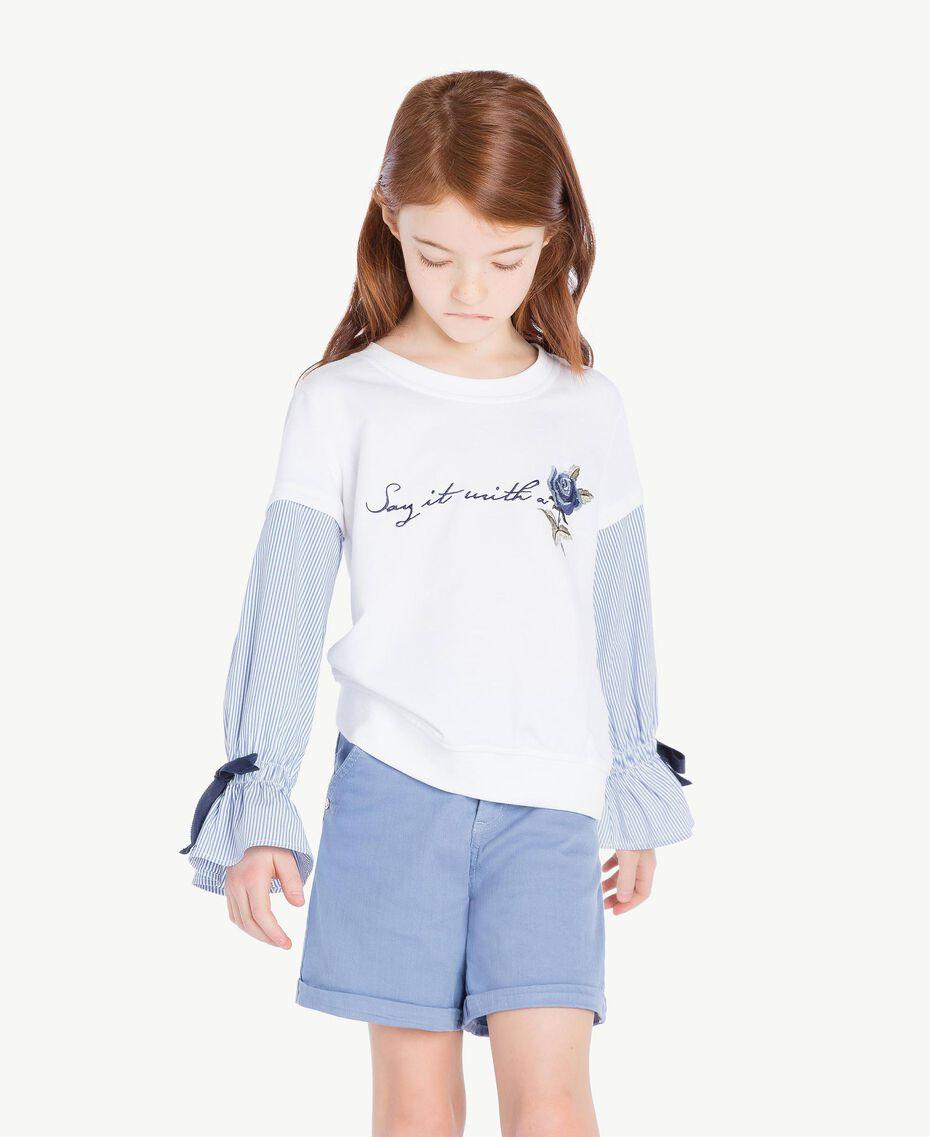 Sweatshirt aus Popeline Jacquard Papyrusweiß / Azur Kind GS82LU-02