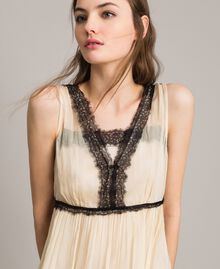 Robe longue en crépon ornée de dentelle Écru Femme 191ST2204-04