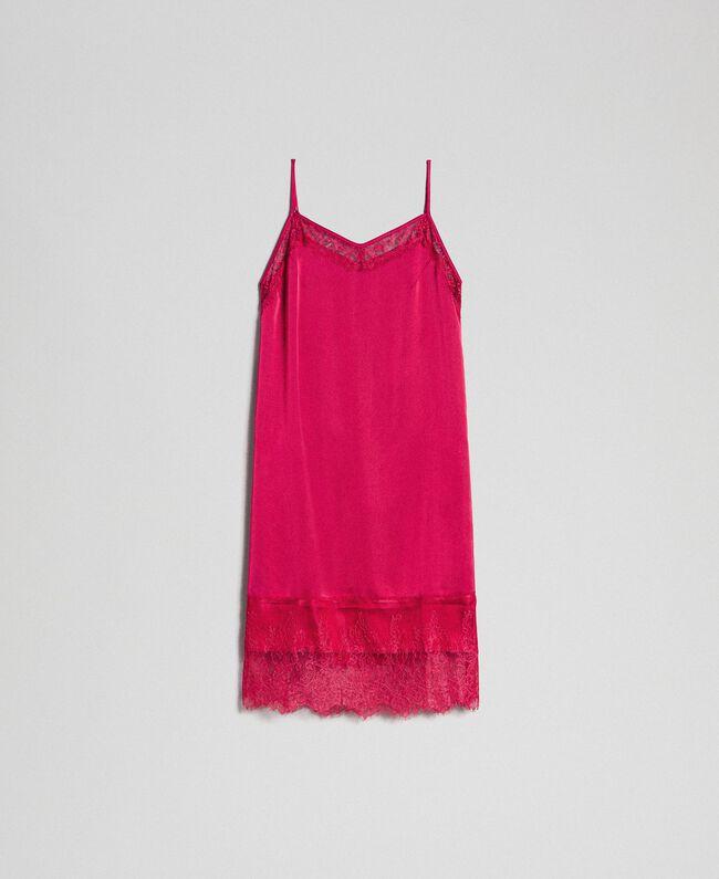 Unterkleid aus Satin mit Spitze Rot Amaranth Frau 192MP2132-0S