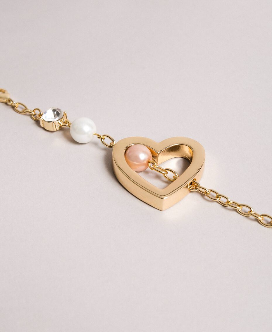 Bracelet with heart pendant, pearls and stones Gold Yellow Woman 191TQP012-02