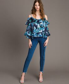 Bluse mit Blumenprint und Volant All Over Blunight Multicolour Flowers Motiv Frau 191MT2291-0T