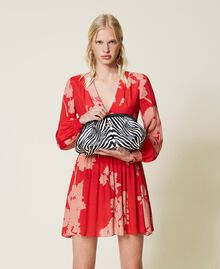 Soft clutch bag with animal print Zebra Print Woman 212TB7231-0S