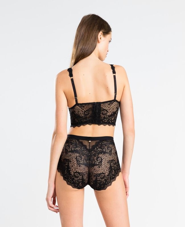 Tulle plumetis and lace high-waist briefs Black Woman LA8A99-03
