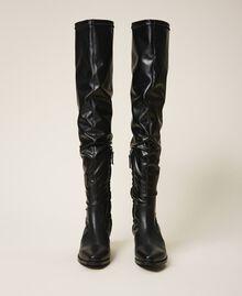 Cапоги-ботфорты с голенищем из ткани-стрейч Черный женщина 202TCP170-05