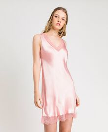 "Slip dress in satin and lace ""Pink Bouquet"" Woman 191LL2DBB-01"