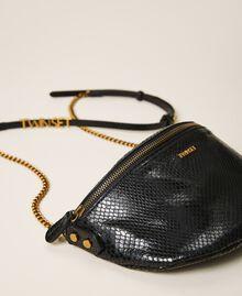 Sac à bandoulière en cuir animalier Imprimé Python Noir Femme 202TD8021-01