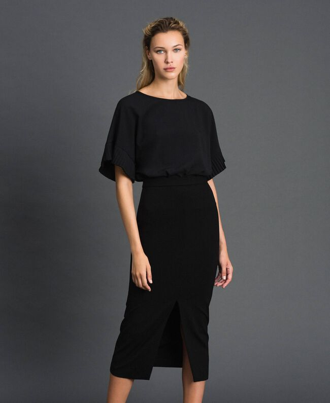 Robe mi-longue fendue Noir Femme 192TT2083-01