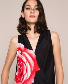 Satin jumpsuit with print Black Rose Print Woman 201LB28LL-04
