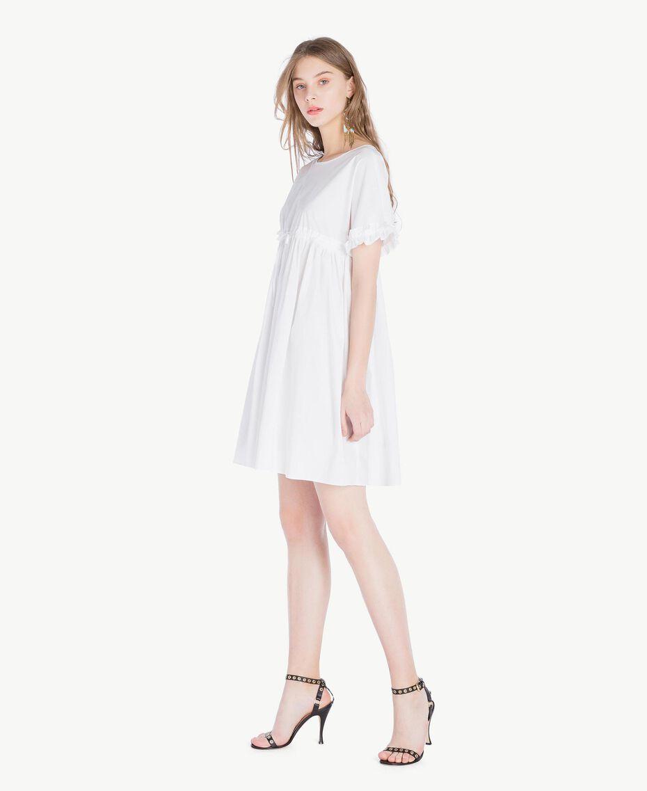 Kleid aus Popeline Weiß Frau TS821A-02