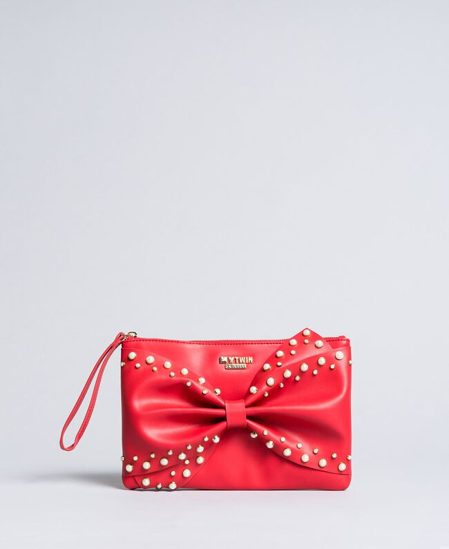Pochette en similicuir avec nœud Rouge Coquelicot Femme VA8PB5-01
