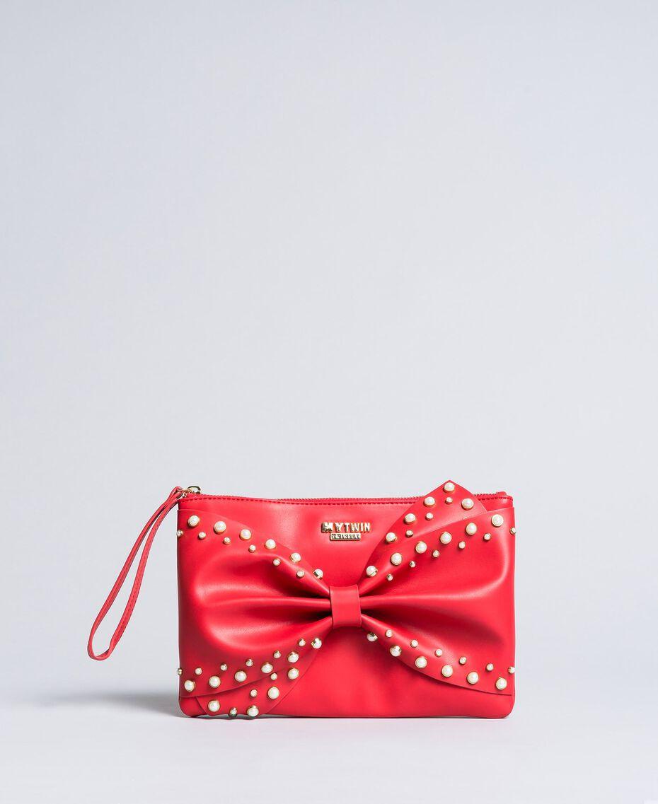 Pochette in similpelle con fiocco Rosso Papavero Donna VA8PB5-01