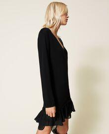 Robe en laine mélangée avec clous et franges Noir Femme 212TP3191-03