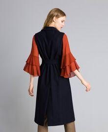 Lange Weste aus Tuch Nachtblau Frau TA821F-04
