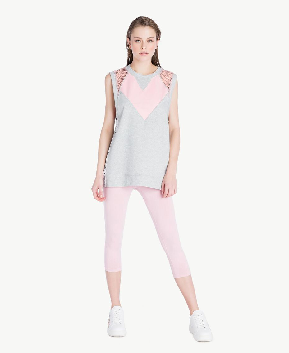 Heart-motif tank top Two-tone Mid Melange Grey / Pinkie Sugar Woman LS87CC-02