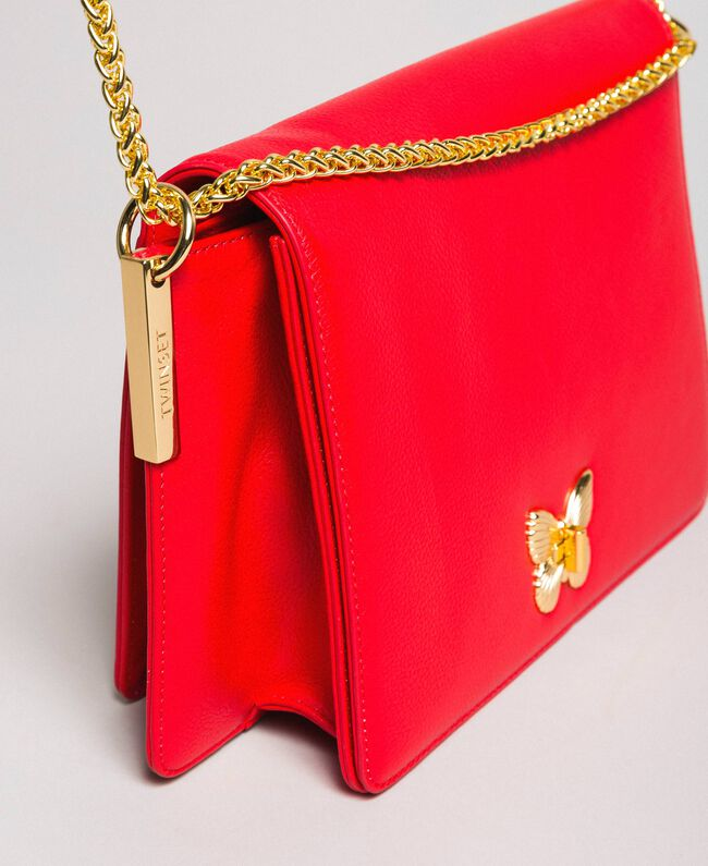 """Large leather shoulder Bea bag """"Ruby Butterfly"""" Red Woman 191TA7140-04"""
