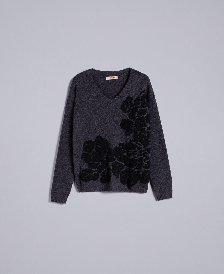 Pull bicolore avec incrustation florale Bicolore Gris Anthracite Fleur Noir Femme TA8393-0S