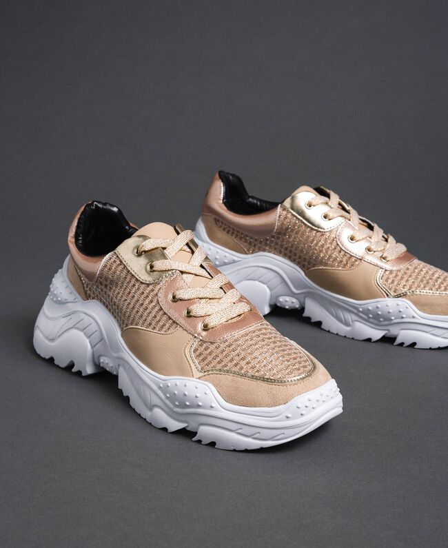 """Glitter fabric running shoes """"Pale Pink"""" Woman 192MCP070-01"""
