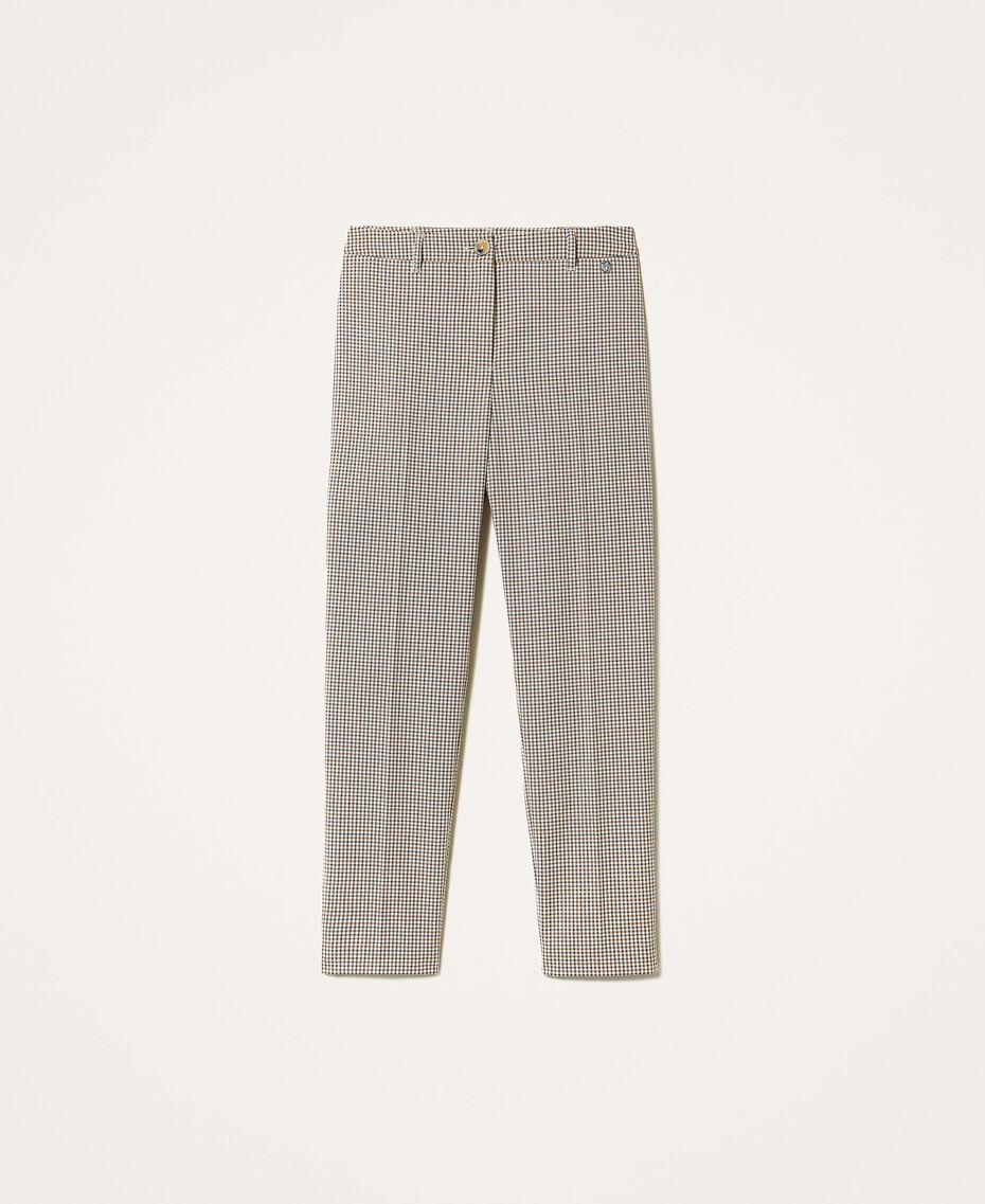 Pantalon cigarette avec motif à carreaux Petit Carreau Marron Femme 202MT2502-0S