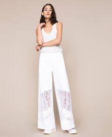 Pantaloni a palazzo in felpa con pizzo Bianco Donna 201LL2LLL-01