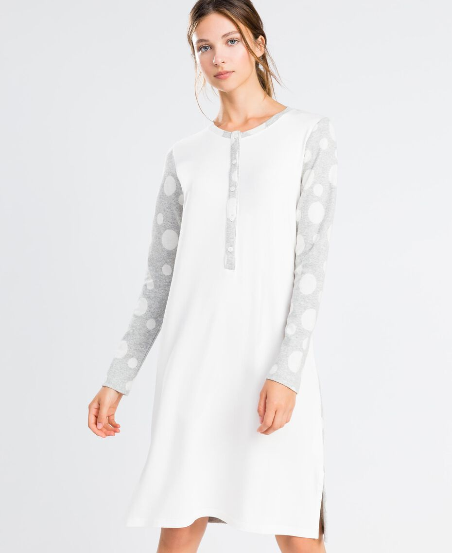 Jersey nightgown with polka dots Bicolour Grey / Ivory Polka Dots Woman LA8UDD-0S