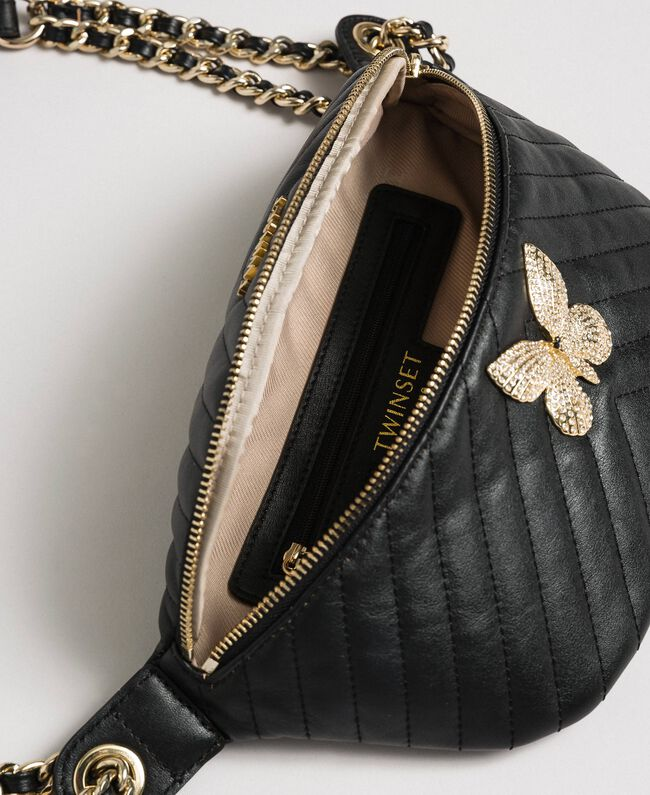 Quilted leather belt bag with butterfly Black Woman 192TA7104-05