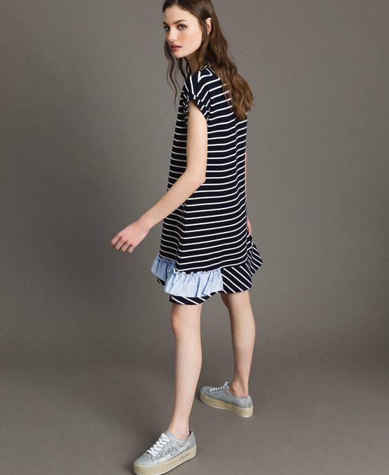Striped dress with contrasting flounce
