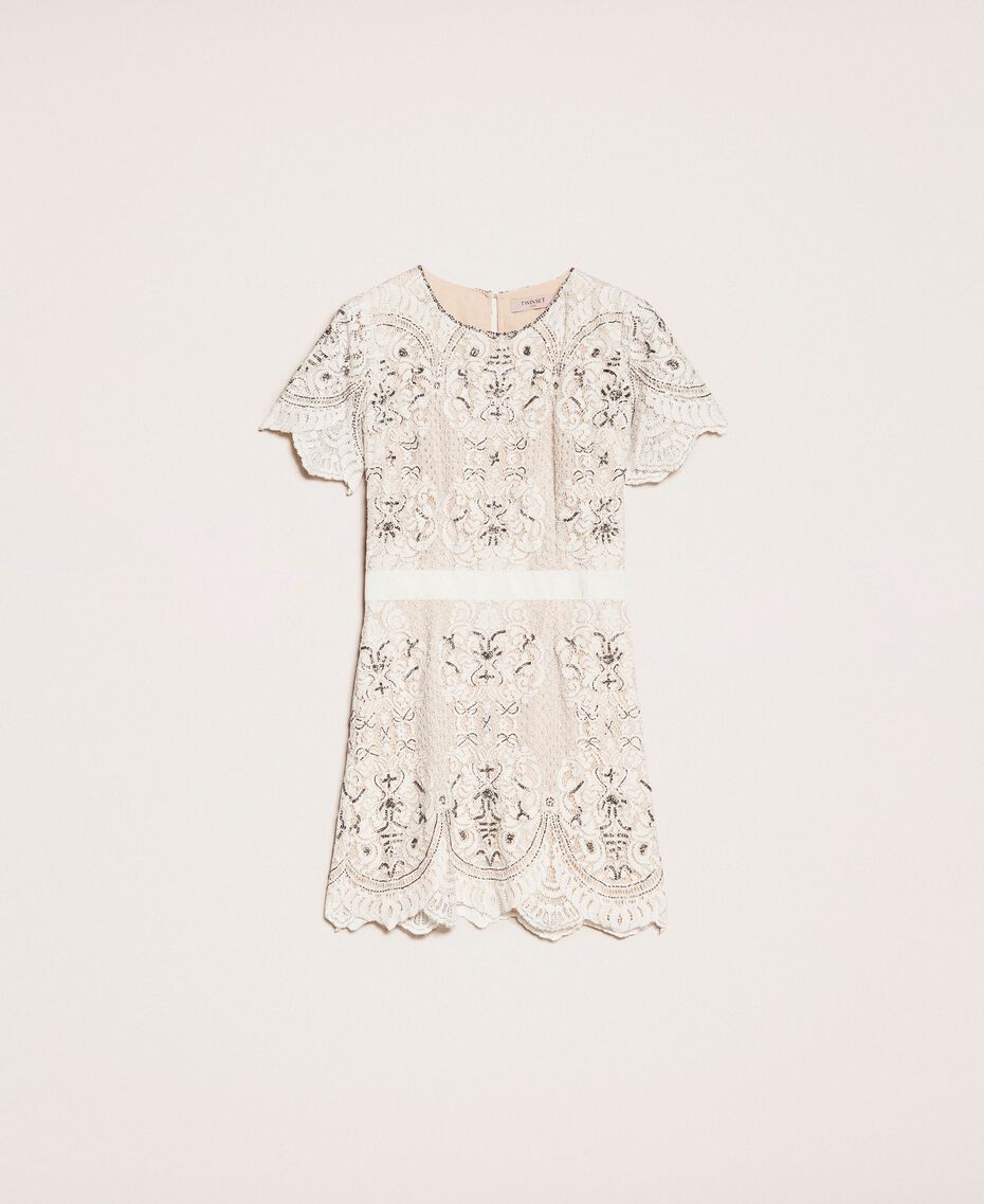 Lace dress with embroidery Ivory Woman 201TP2462-0S