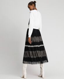 Pleated Chantilly lace skirt Black / Creamy White Woman 192ST2113-04