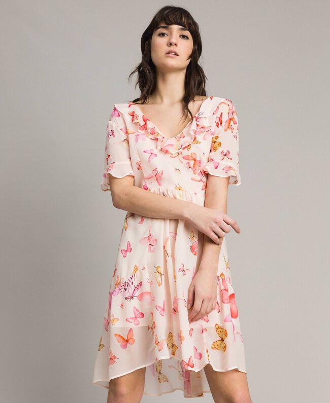 Georgette-Kleid mit Schmetterlings-Aufdruck Motiv Schmetterling Gemischt Pink Frau 191TT2394-01