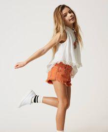 "Frayed bull shorts ""Iceland Poppy"" Orange Child 211GJ206E-02"