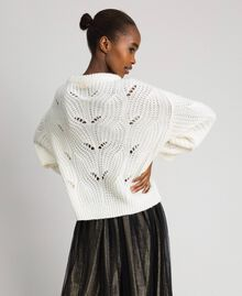 Openwork oversized jumper with studs Ivory Woman 192LL3HGG-04