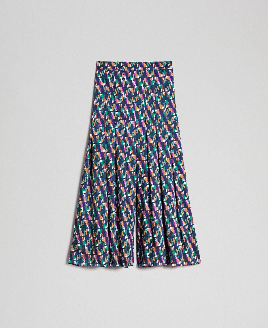 Falda pantalón con estampado y pliegues Estampado Geométrico Zorro Mujer 192ST2142-0S