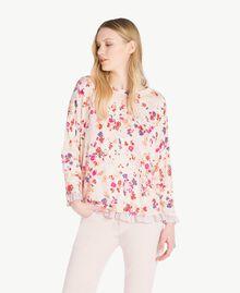 Pullover mit Print Multicolor-Blumen Quarzrosa Frau JS83NP-01