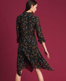 Асимметричное платье с цветочным принтом Мелкий Цветочный Принт Черный женщина 192MP2226-03