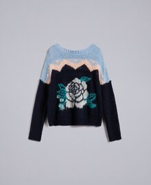 Rose mohair jumper Blue Jacquard and Printed Rose Woman PA837A-0S