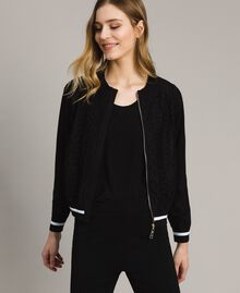 Knit and fleece bomber jacket Black Woman 191LL36AA-01